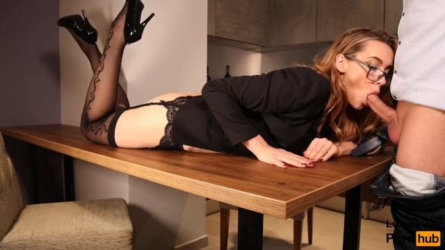 Sexy secrtary Sexy secretary fucked on the table. blowjob and sex in stockings glasses.