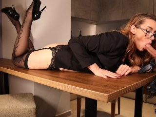 Gerard butler nude sexy secretary fucked on the table. Blowjob and sex in stockings & glasses., kink