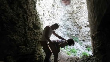 brunette sucks cock and Fucks in the ruins of an old fortress
