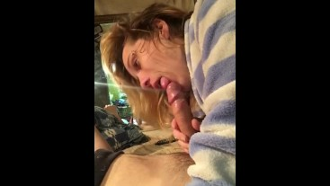 She loves sucking daddy's big dick