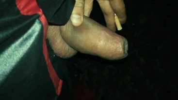 Behind a bar uncut boy have to pull back foreskin if he want to pee