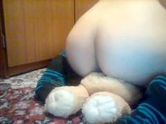 Humping my lion teddy bear ♥