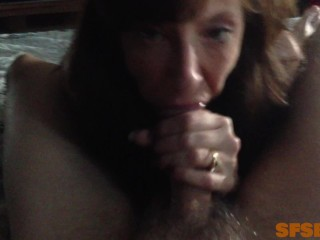 Step Mom Almost Gets Caught Sucking Step Sons Best Freinds Cum Filled Cock