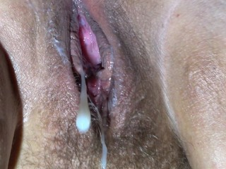 I cum inside my wifes creamy hairy pussy then fuck her until she orgasms