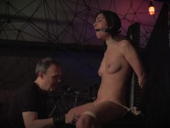 Teen in submission trapped in the bondage dungeon endures her punishment