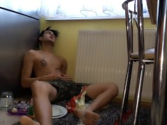 Full stuffed twink´s belly after all fridge eating - burping farting