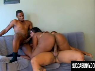 Juicy Ebony Skyy Black Sucks and Fucks Two Black Cocks