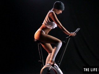 Preview 3 of Beautiful sweaty teen humping an exercise bike seat.