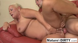 big titted blonde grandma takes it in the butt