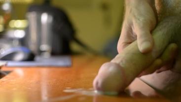 Jason Busts A Massive Nut On Desk