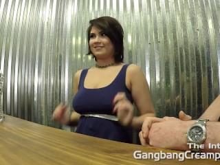 Sexy curvy latina interviewed before her gangbang