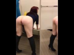 Slut wife fucktoy facial and cumwalk through the mall.