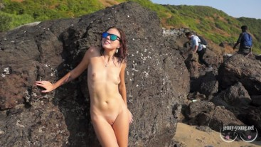 Jenny rips her clothes, sucks and has sex in real public place.
