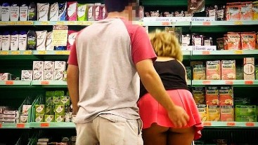 Young Horny ebony girl flashing butt at store