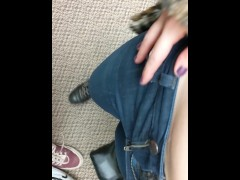 Quick blowjob and cum in panties in the dressing room!