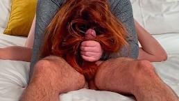 Ginger Redhead Hairjob Massage Jerk Off till Huge Cumshot in Long Red Hair