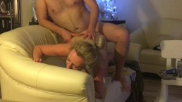 Hidden camera: Rough fucking neighbour while watching telly, pussy fart BJ
