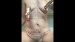 Extreme nipple torture with metal brush and tabasco for submissive painslut