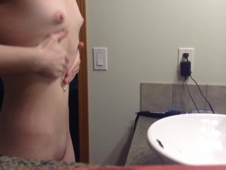 ROOMMATE caught on SPY CAM getting dressed after shower! See profile 4 more
