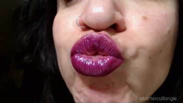 ASMR Intimate Kisses with my Full Purple Lips, Dirty Talk, Chewing Gum