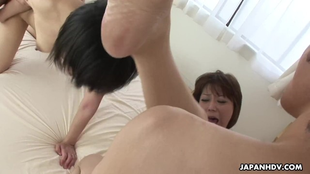 Grannies having group sex Insatiable japanese women are having group sex in the bedroom