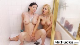 Shower filled with lesbian orgasms!