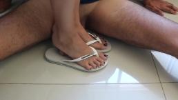 Goddess JMACC - My dirty white flip flops wants crush a cock (Trailer)