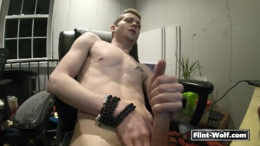 Straight Blonde Boy Watching Porn Cum On His Tattooed Chest
