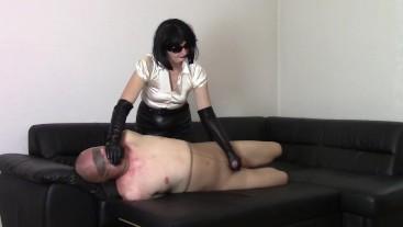 My nylon slave, part: Leather opera gloves handjob