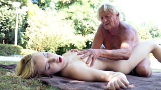 Foreign college student rides grandpas cock sucks it good and gets her puss