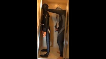 with Halloween makeup wetsuited guy fucks frogman dummy in hotel shower