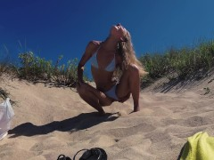 PISS PISS TRAVEL - Real Pissing on a public beach Doninos / Sasha Bikeyeva