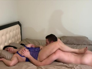 Busty Brunette MILF And Her Lover Climax In Each Others Mouth's