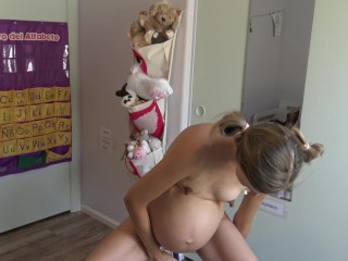 Young pregnant schoolgirl shows off masturbates squirts on...