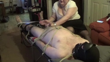 bound gagged, edged, cbt, polished and post orgasm torture NO MERCY!!