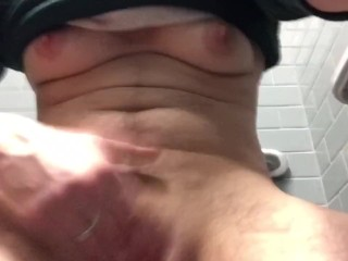 FTM Boy Pussy so Horny at Work (MEN IN BATHROOM TOO)