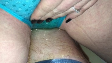 Couple peeing in undies and cumming