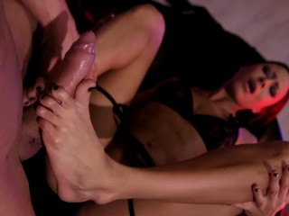 Sexy pole dance pro Cassie Del Isla rides & foot fucks enormous veiny cock