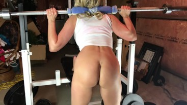 Milf with Great Ass Squatting Nude in home gym