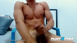 Charles Lee on Flirt4Free - Latino Hunk with Athletic Body Jerks Uncut Cock