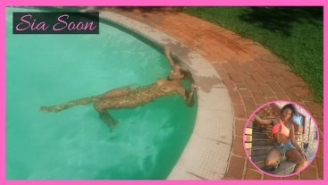 Ebony Babe Skinny Dipping at Public Pool