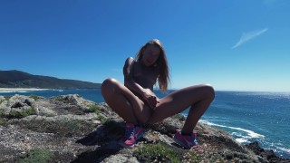 PISS PISS TRAVEL - Tiny Nudist girl public pees and smiles teasing you