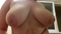 a young girlfriend with big tits handjob my cock until I cum