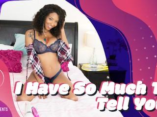 VRHUSH Ebony cutie September Reign rides a sex toy in virtual reality