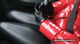 In the car... handcuffs, PVC jacket, leather gloves and leather leggings