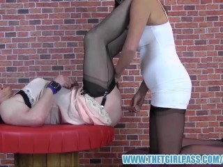 Femdom fucks mature tgirl sluts ass with her fingers vibrator dildo toys