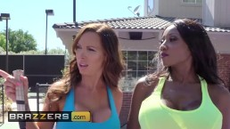 Brazzers - Two busty milfs take advantage of young big cocked creep