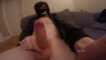 Hot twink in leather jacket jerks off and plays with cum