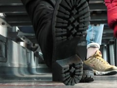 Candid shoes and dirty soles, boot shoes
