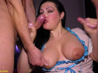 extreme rough anal gangbang party with chubby busty milf Elina Flower